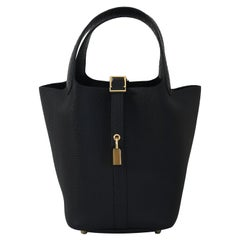 Hermes Picotin 18 Lock Bag Touch Gold Hardware Black