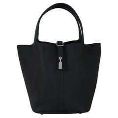 Hermes Picotin 22 Lock Bag Palladium Hardware Black