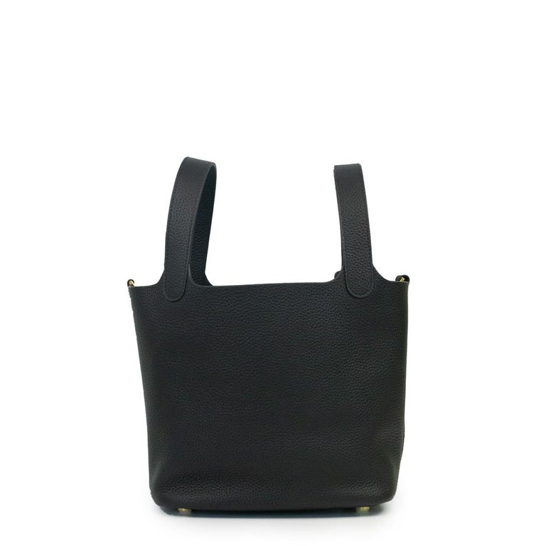 Hermès, Picotin 22 lock in black leather In Good Condition For Sale In Clichy, FR