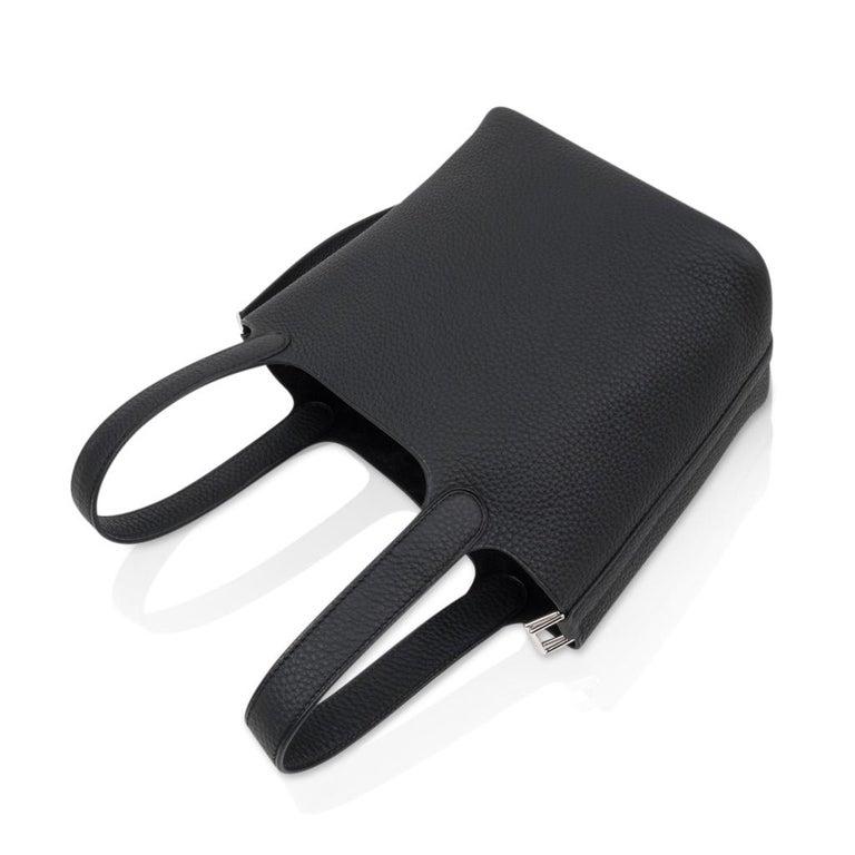 Hermes Picotin Lock 18 Bag Black Clemence Tote Palladium Hardware 4