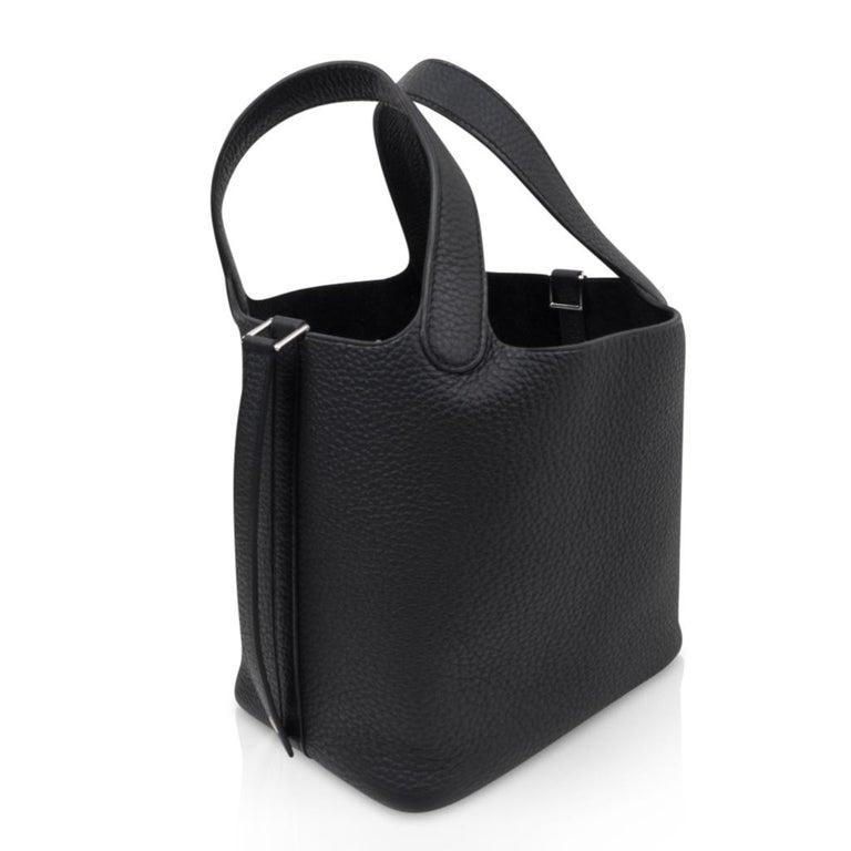 Hermes Picotin Lock 18 Bag Black Clemence Tote Palladium Hardware 5