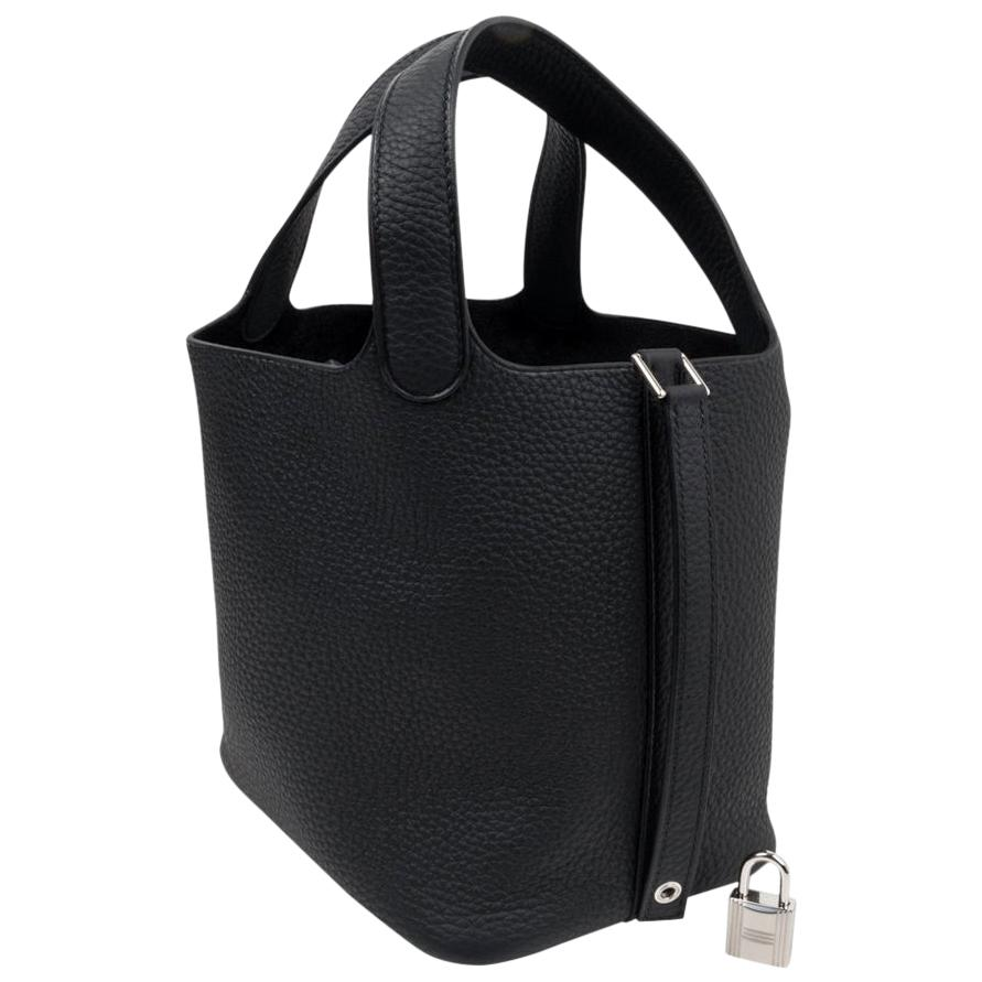 Hermes Picotin Lock 18 Bag Black Clemence Tote Palladium Hardware