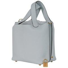 Hermes Picotin Lock 18 Bag Blue Pale Tote Clemence Palladium Hardware