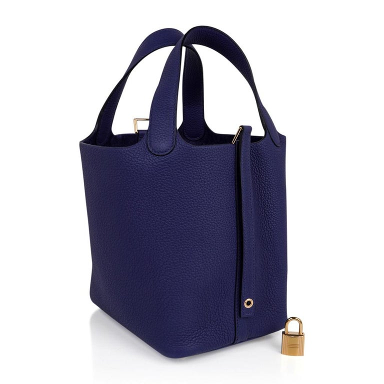 Black Hermes Picotin Lock 18 Bag Blue Sapphire Tote Clemence Gold Hardware For Sale