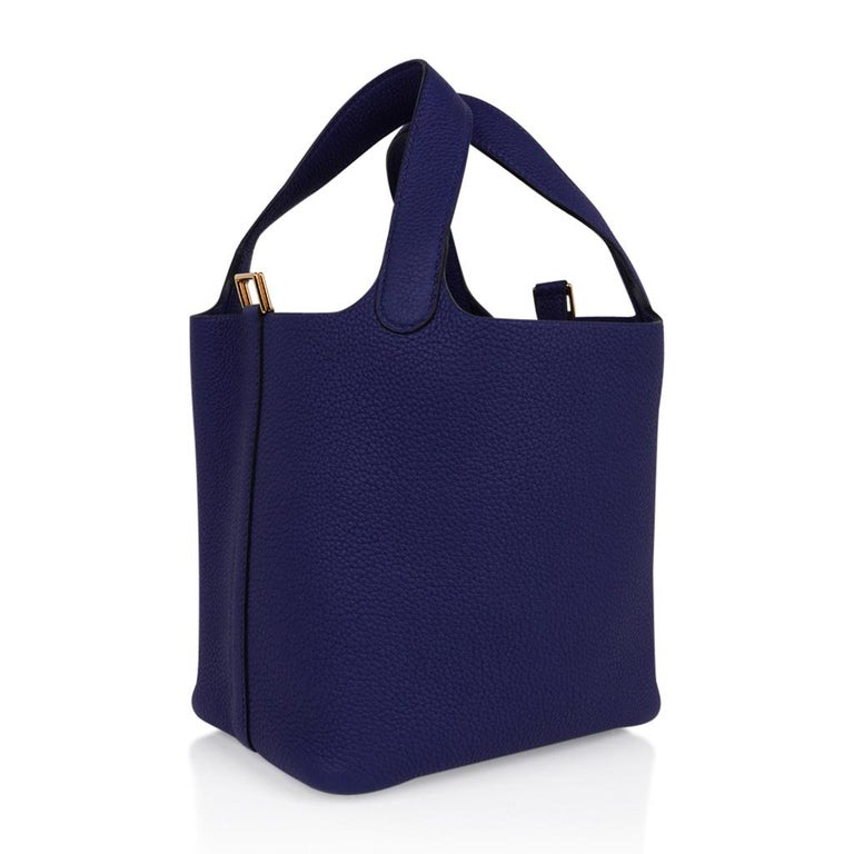 Women's Hermes Picotin Lock 18 Bag Blue Sapphire Tote Clemence Gold Hardware For Sale