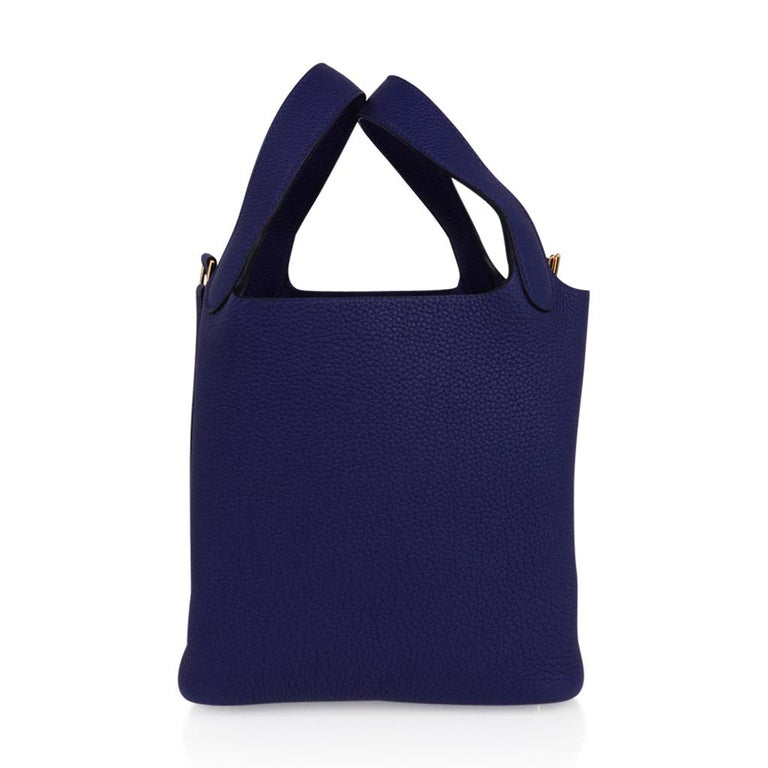 Hermes Picotin Lock 18 Bag Blue Sapphire Tote Clemence Gold Hardware For Sale 2