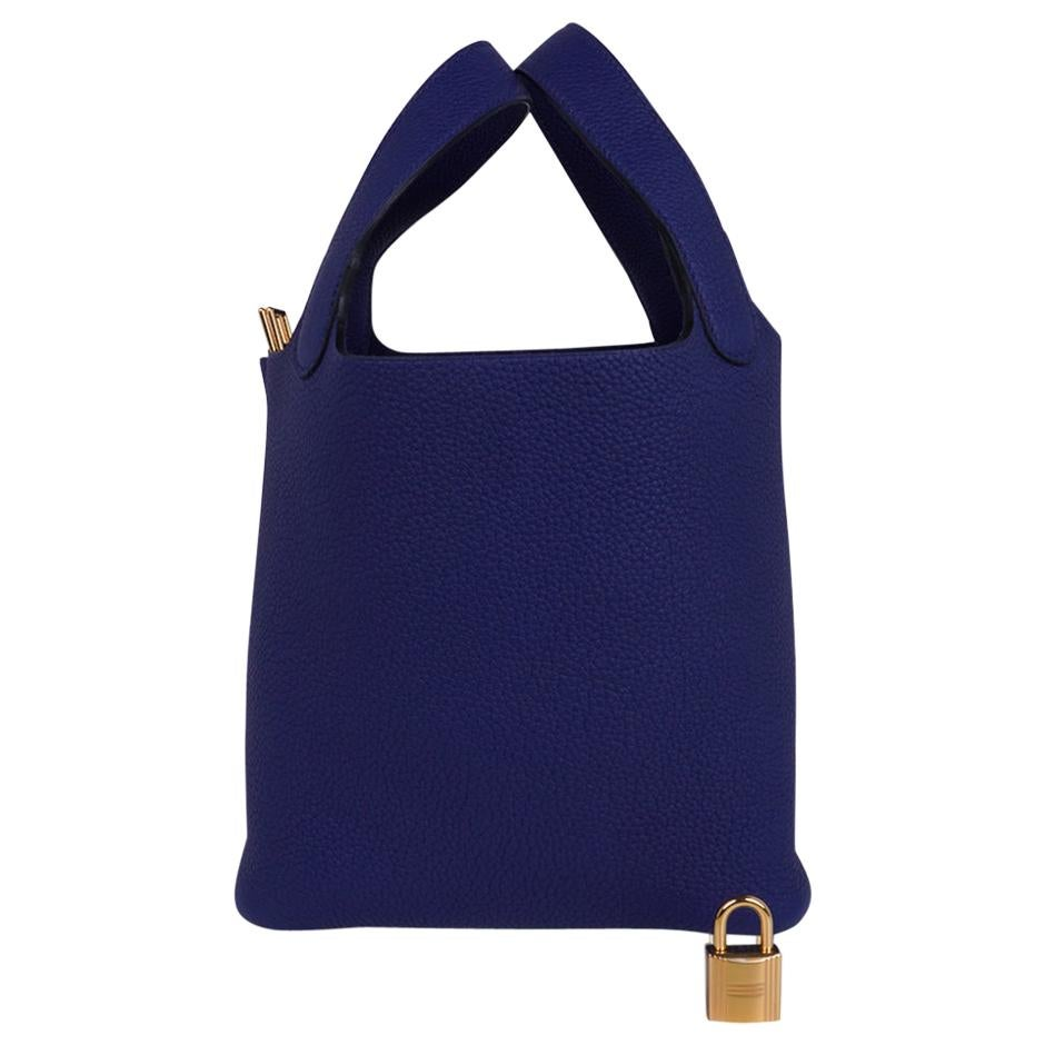 Hermes Picotin Lock 18 Bag Blue Sapphire Tote Clemence Gold Hardware