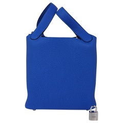 Hermes Picotin Lock 18 Bag Blue Zellige Tote Clemence Palladium Hardware
