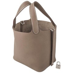 Hermes Picotin Lock 18 Bag Etoupe Clemence Tote Palladium Hardware New w/Box
