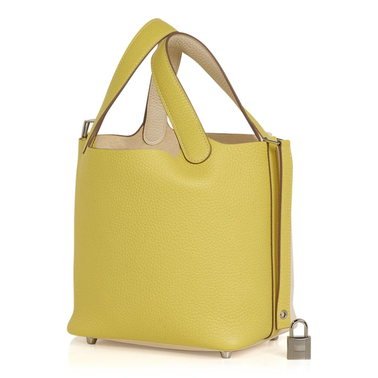 Hermes Picotin Lock 18 Casaque Bag Lime / Nata Bi-Color Tote Clemence Palladium  In New Condition For Sale In Miami, FL