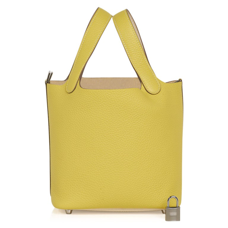 Hermes Picotin Lock 18 Casaque Bag Lime / Nata Bi-Color Tote Clemence Palladium  For Sale 1