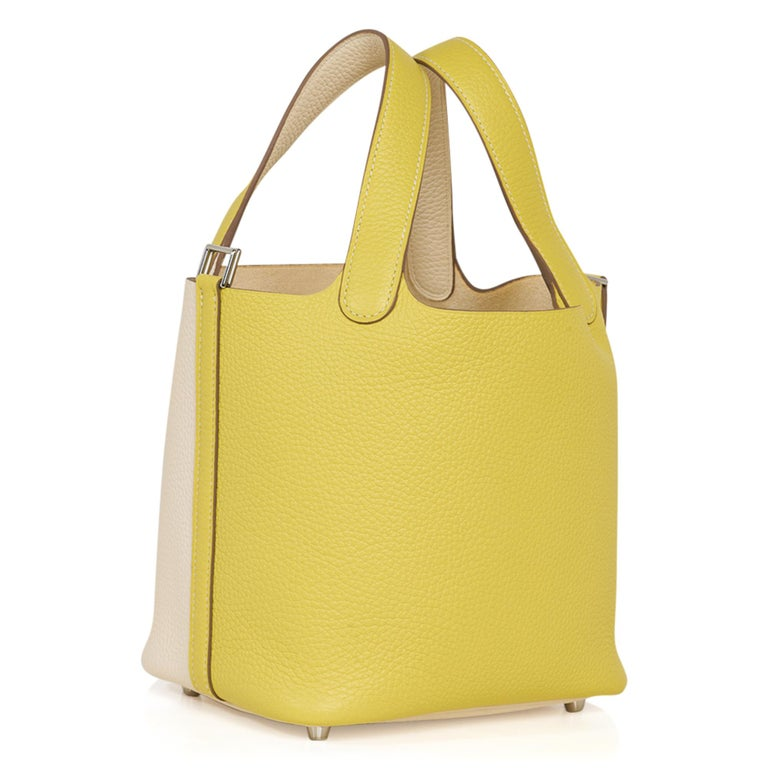 Hermes Picotin Lock 18 Casaque Bag Lime / Nata Bi-Color Tote Clemence Palladium  For Sale 3