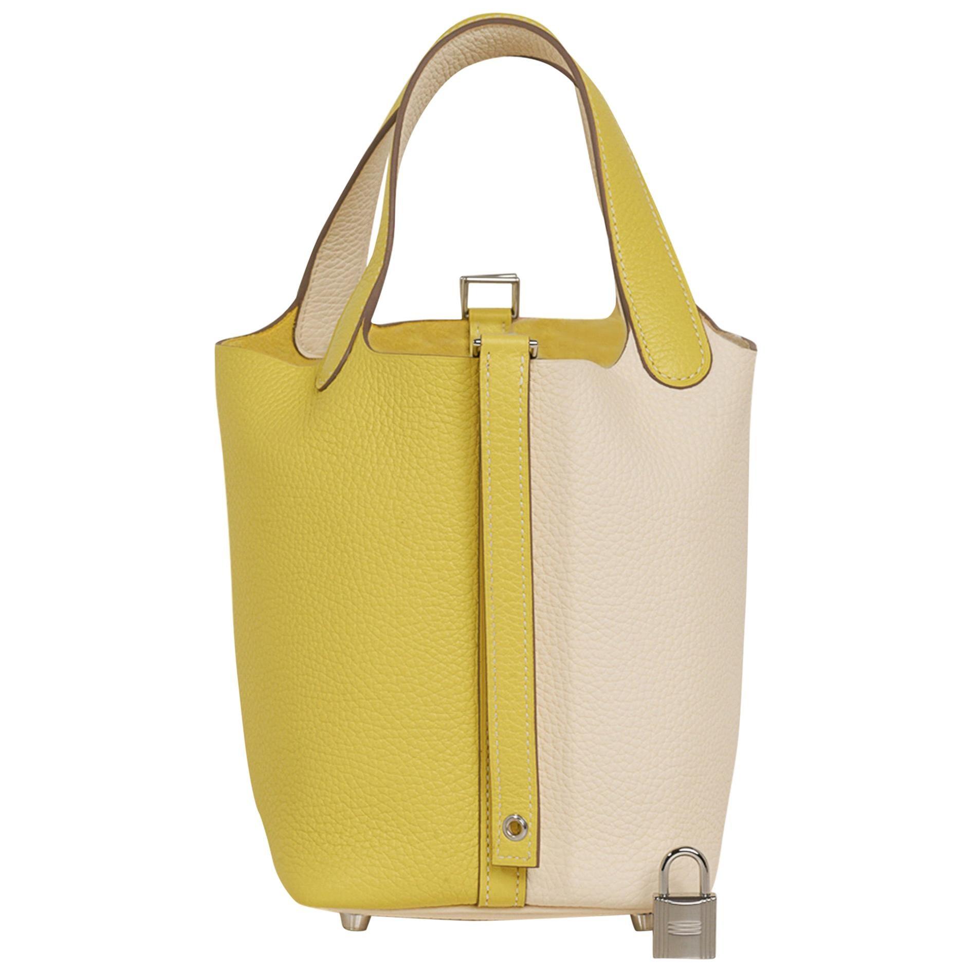 Hermes Picotin Lock 18 Casaque Bag Lime / Nata Bi-Color Tote Clemence Palladium