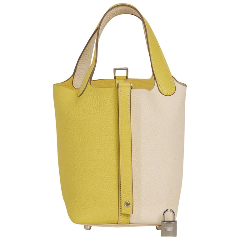 Hermes Picotin Lock 18 Casaque Bag Lime / Nata Bi-Color Tote Clemence Palladium  For Sale