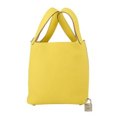 Hermes Picotin Lock 18 Bag Lime Tote Clemence Leather Palladium  Hardware