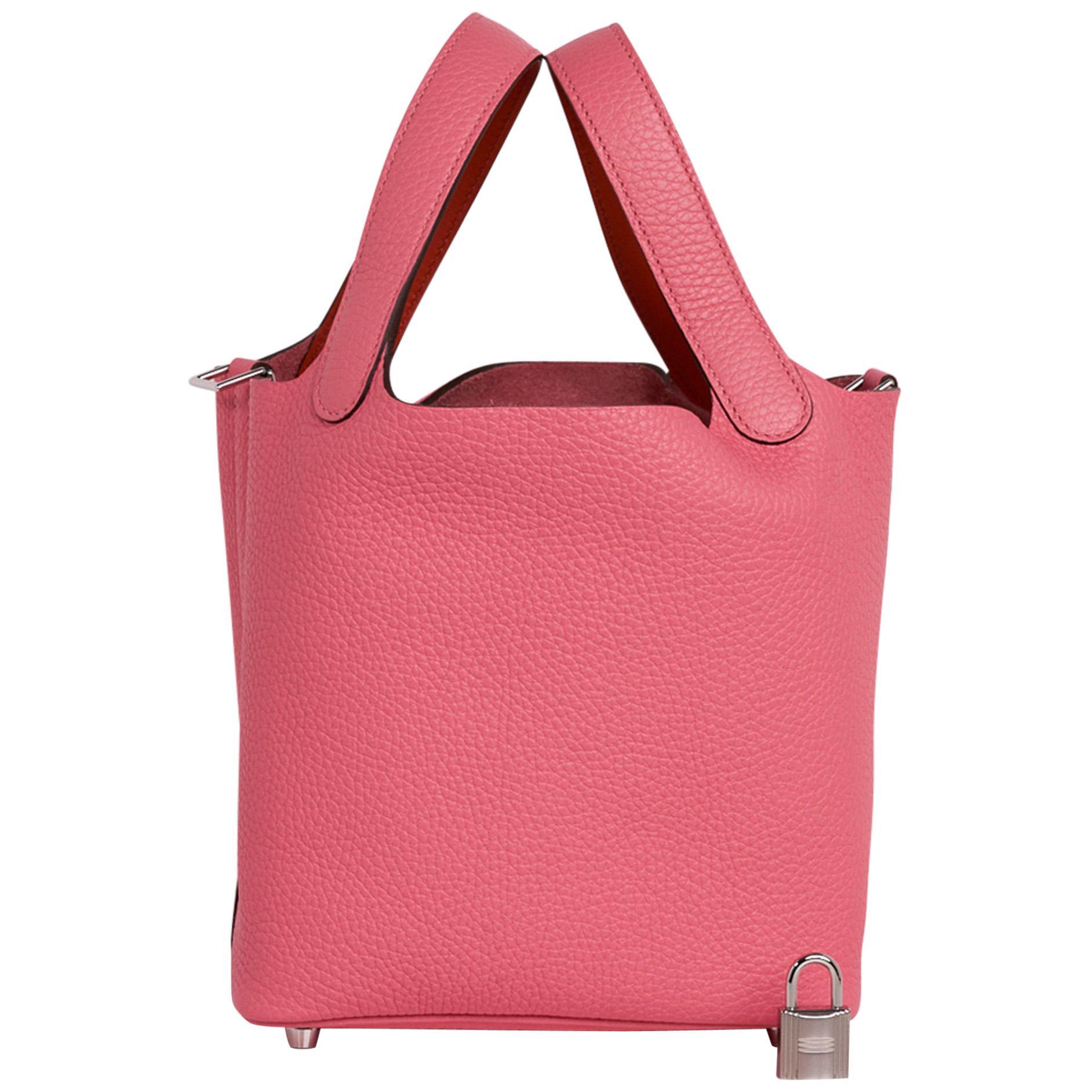 Hermes Picotin Lock 18 Eclat Bag Rose Azalee / Terre Battue Tote Clemence