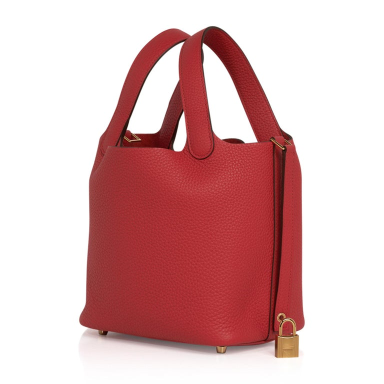Red Hermes Picotin Lock 18 Bag Rouge Tomate Tote Clemence Gold Hardware  For Sale