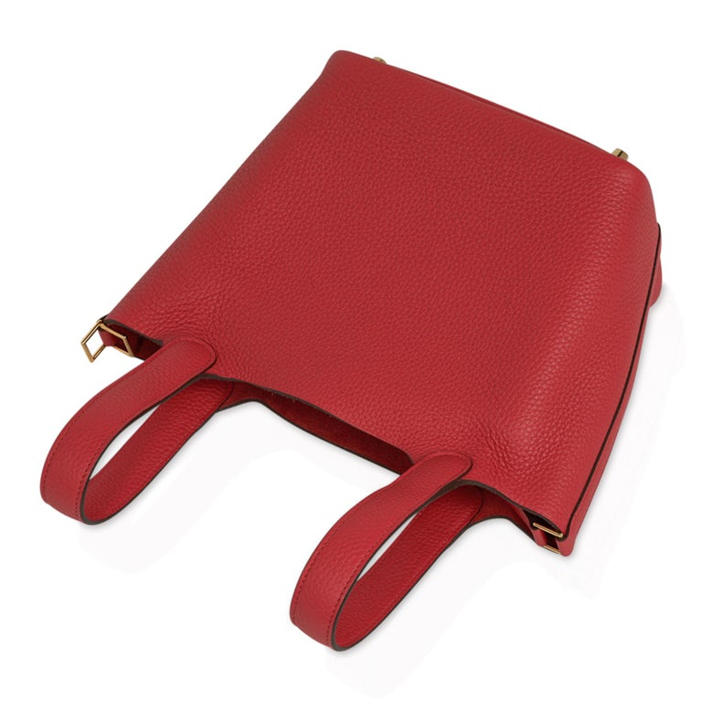 Hermes Picotin Lock 18 Bag Rouge Tomate Tote Clemence Gold Hardware  In New Condition For Sale In Miami, FL