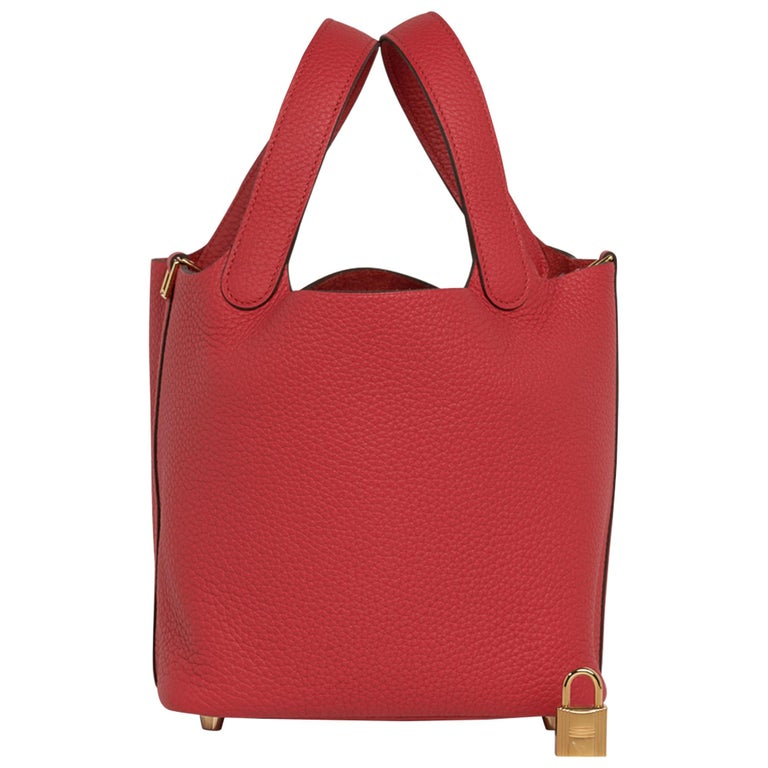 Hermes Picotin Lock 18 Bag Rouge Tomate Tote Clemence Gold Hardware  For Sale