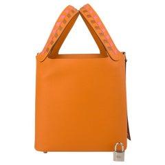 Hermes Picotin Lock 18 Bag Tressage Abricot Epsom Tote Palladium Hardware