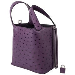 Hermes Picotin Lock 18 Bag Violine Ostrich Tote Palladium Hardware nwt