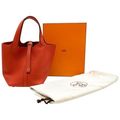 Hermès Picotin Lock 18 in Rouge Tomate Clémence Leather PHW