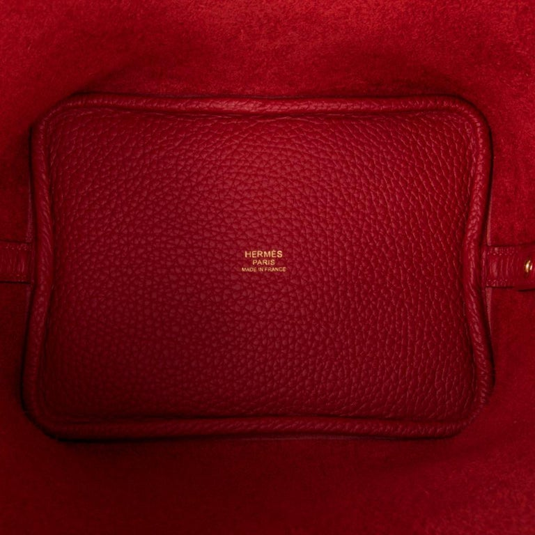 Hermes Picotin Lock 18 Rouge Casaque Clemence Gold Hardware For Sale 3