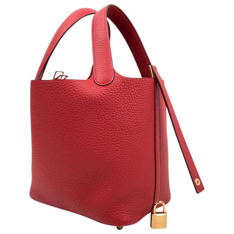 Hermes Picotin Lock 18 Rouge Casaque Clemence Gold Hardware For Sale