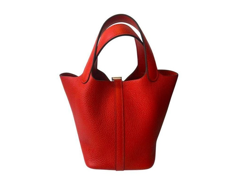 Red Hermes Picotin Lock 18cm Rouge Tomate Palladium Hardware - New Condition For Sale