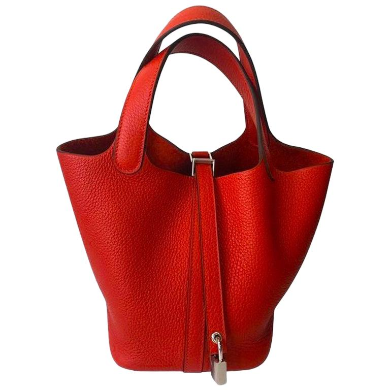 Hermes Picotin Lock 18cm Rouge Tomate Palladium Hardware - New Condition