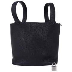 Hermes Picotin Lock 22 Bag Black Tote Clemence Palladium Hardware