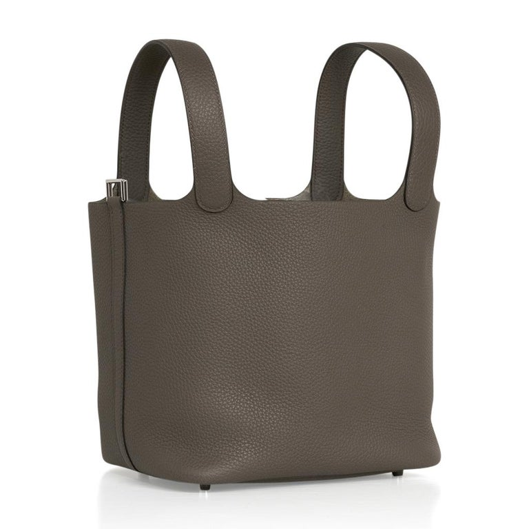 Guaranteed authentic Hermes Picotin Lock 22bag featured in neutral Etain.  Fresh with palladium hardware. This roomy Hermes tote bag is a perfect go to bag!  Comes with Signature Hermes box, lock, keys and sleeper. NEW or NEVER WORN final sale  BAG