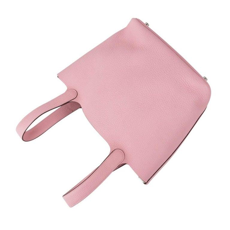 Hermes Picotin Lock 22 Bag MM Rose Sakura Pink Palladium Hardware In Good Condition For Sale In Miami, FL