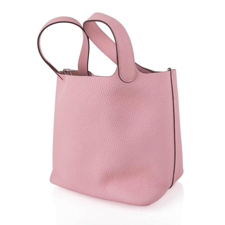 Hermes Picotin Lock 22 Bag MM Rose Sakura Pink Palladium Hardware For Sale 1