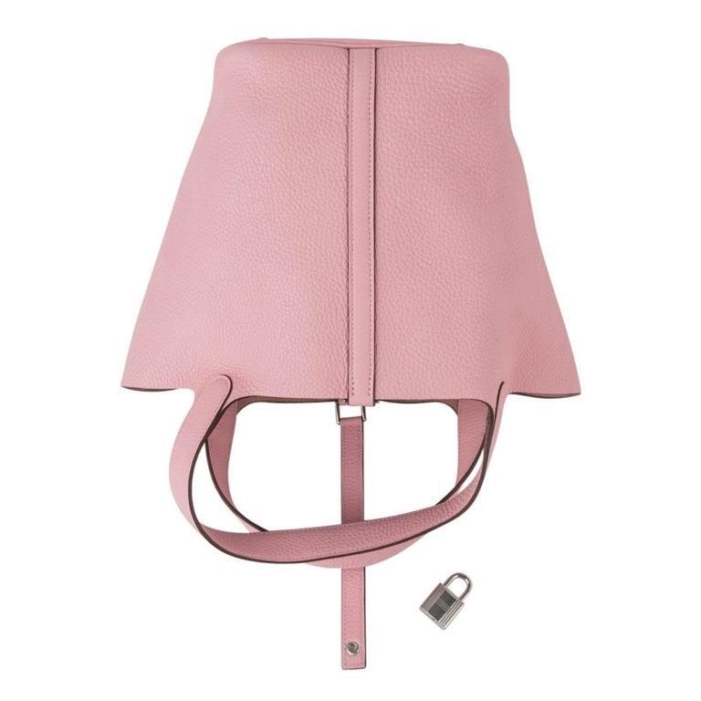 Hermes Picotin Lock 22 Bag MM Rose Sakura Pink Palladium Hardware For Sale 2