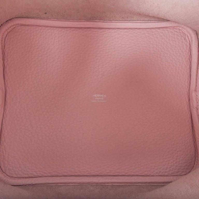 Hermes Picotin Lock 22 Bag MM Rose Sakura Pink Palladium Hardware For Sale 4