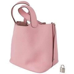 Hermes Picotin Lock 22 Bag MM Rose Sakura Pink Palladium Hardware