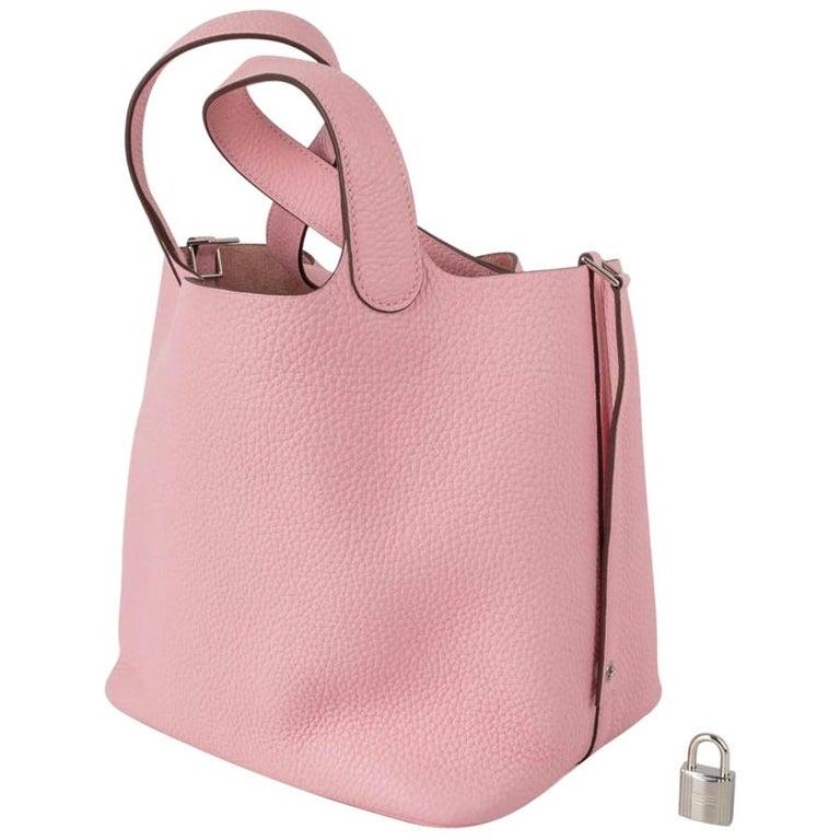 Hermes Picotin Lock 22 Bag MM Rose Sakura Pink Palladium Hardware For Sale