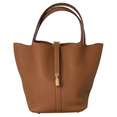 Hermes Picotin Lock Bag 22 Gold Hardware Croc Handle Gold