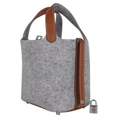 Hermes Picotin Lock Touch 18 Gray Feutre / Barenia Leather Tote Bag New w/Box