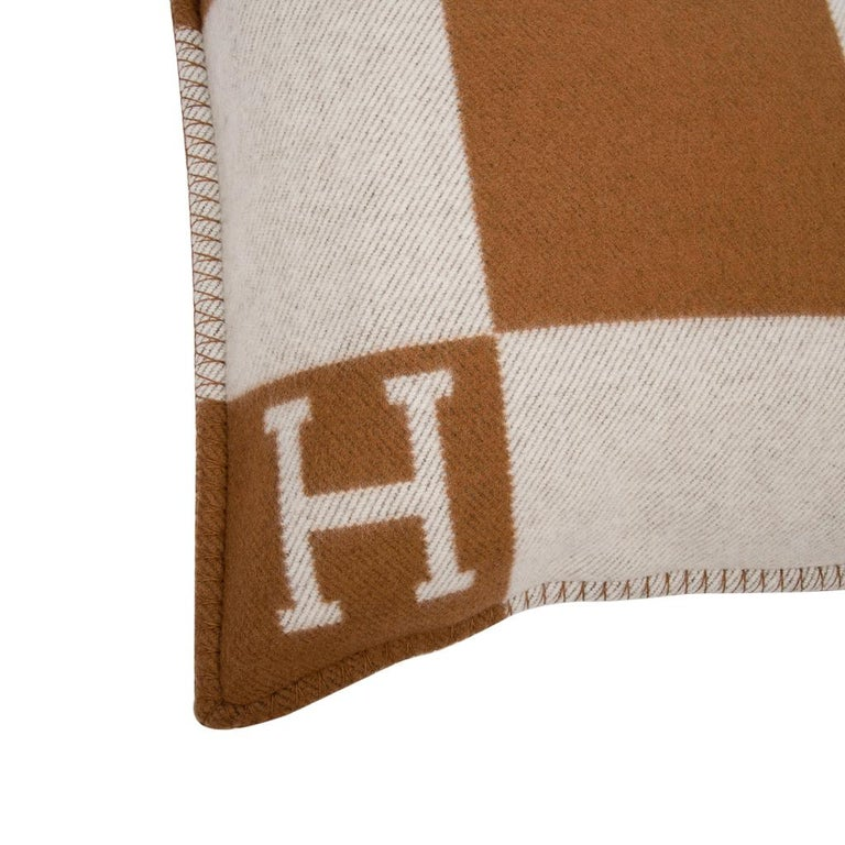 Beige Hermes Pillow Avalon PM Signature H Camel / Ecru Throw Cushion For Sale