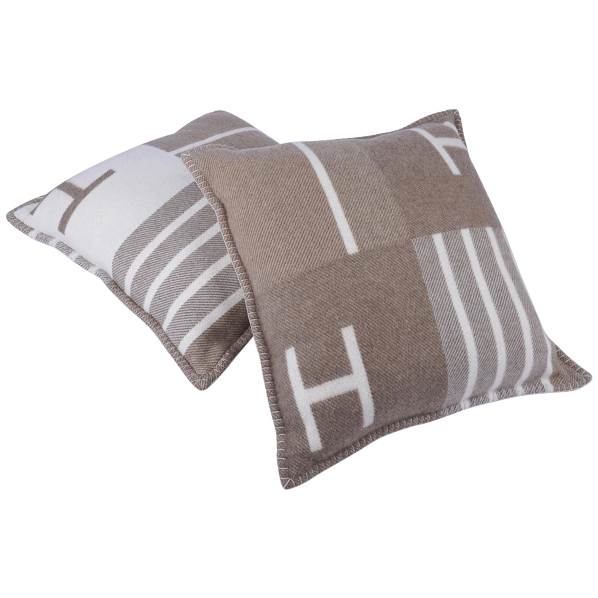 Hermes Pillow Avalon Vibration Naturel Set of Two New w/ Sleepers