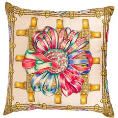 Hermes Pillow Silk Scarf Print Les Rubans du Cheval Vintage