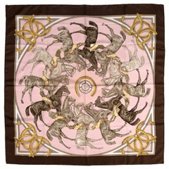 Hermès Pink ASCOT 1831 Silk Scarf Francoise de la Pierriere First Issue 1969