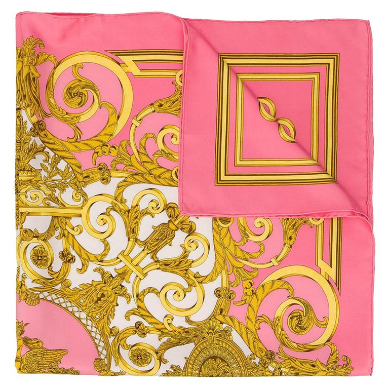Hermès Pink Baroque Print Scarf For Sale