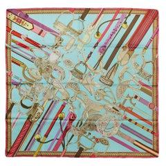 Hermes Pink Blue Concours d'Etriers 90cm Silk Scarf Designed by Virginie Jamin