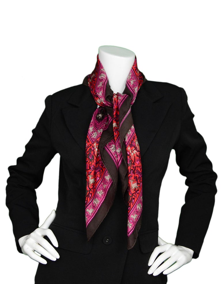 Hermes Pink/Brown Chasse En Ende Silk Scarf 90cm In Excellent Condition For Sale In New York, NY