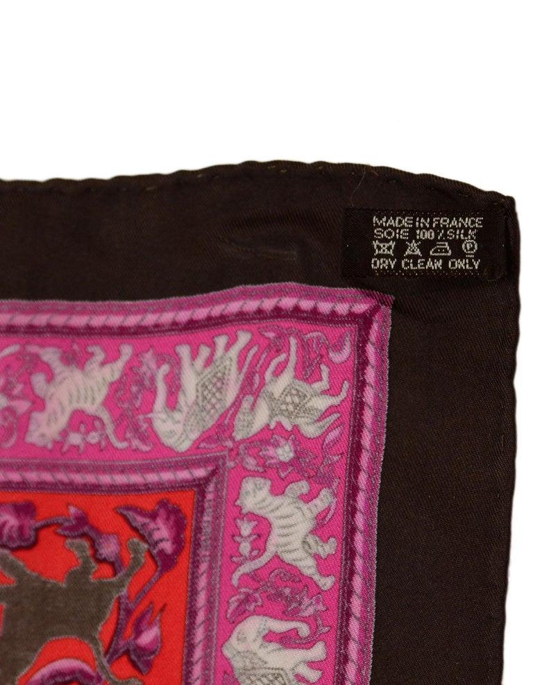 Hermes Pink/Brown Chasse En Ende Silk Scarf 90cm For Sale 2