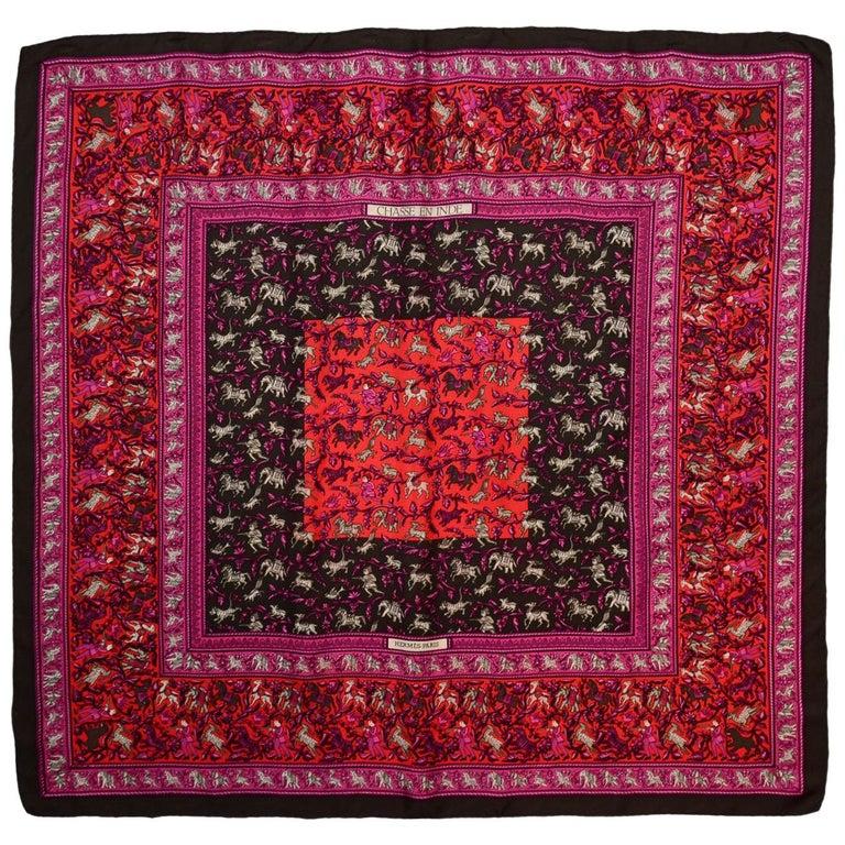 Hermes Pink/Brown Chasse En Ende Silk Scarf 90cm For Sale