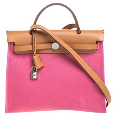 Hermes Pink Canvas and Leather Herbag Zip 31 Bag